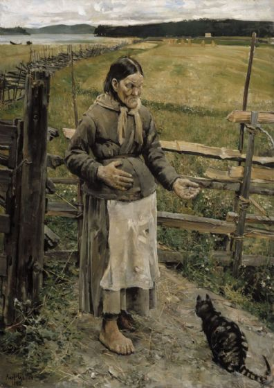 Gallen-Kallela, Akseli: Old Woman and Cat. Fine Art Print/Poster. Sizes: A4/A3/A2/A1 (001081)